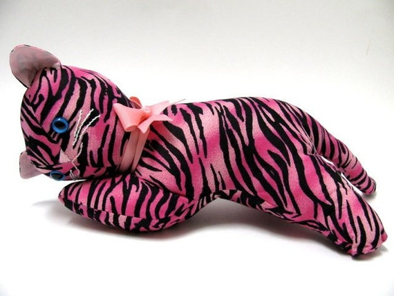 New Handmade Pink Tiger Stripe Stuffed Cat Doll Pink And Etsy