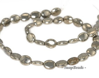 """16X10MM PALAZZO IRON PYRITE GEMSTONE CONCAVE OVAL 16X10MM LOOSE BEADS 7.5/"""""""