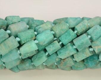 6-9MM Genuine Natural Aqua Amazonite Beads Semi Transparent Grade AAA Faceted Nugget Rectangle Tube Gemstone Beads 108365 30-35 Pcs