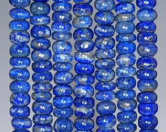 6X3MM NATURAL LAPIS LAZULI GEMSTONE GRADE AB RONDELLE LOOSE BEADS 7.5/""