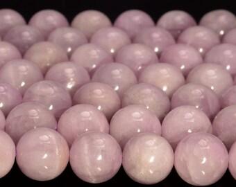 80005398-464 7-8mm Genuine Pink Gemmy Kunzite Gemstone Grade AA Transparent Pink Nugget Round Loose Beads 16 inch Full Strand