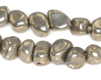 13MM-10MM PALAZZO IRON PYRITE GEMSTONE RUGGED NUGGET PEBBLE LOOSE BEADS 15.5/""