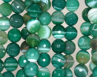 10mm Green Agate Gemstone Green Swirls Faceted Round 10mm Loose Beads 15 inch Full Strand (90148368-446)