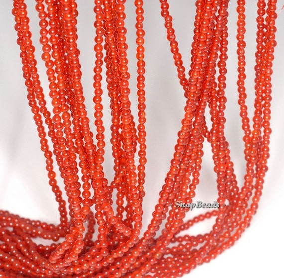 """2MM CARNELIAN RED AGATE GEMSTONE GRADE A ROUND 2MM LOOSE BEADS 16/"""""""