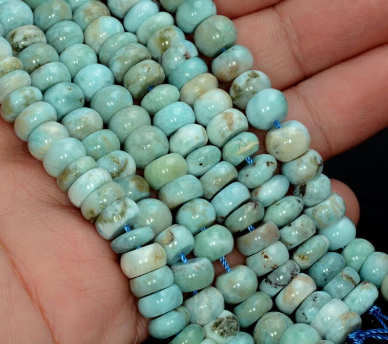 Dominican Larimar Gemstone Blue Rondelle Slice 7x4-7x5MM Loose Beads 3.5 inch 90183451-787