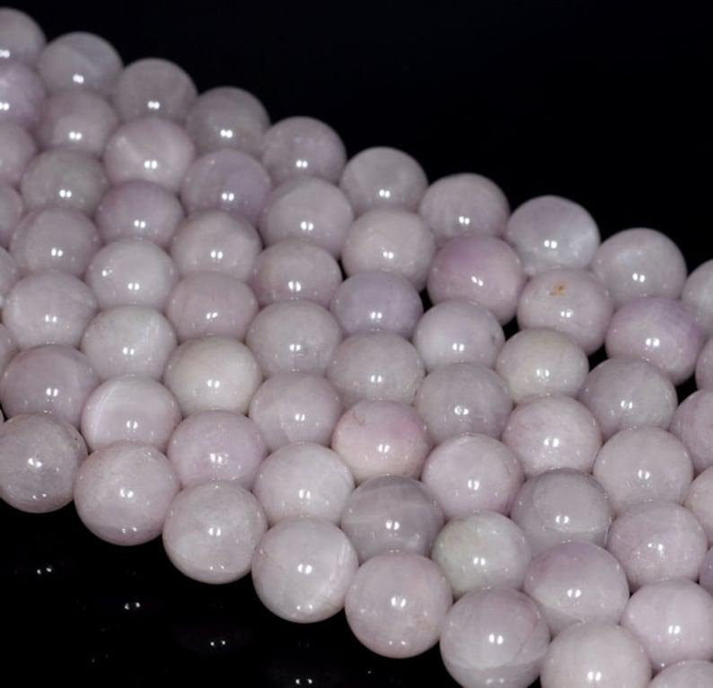 80000838-147 11-12mm Natural Kunzite Gemstone Grade A Lavender Purple Round Loose Beads 7.5 inch Half Strand