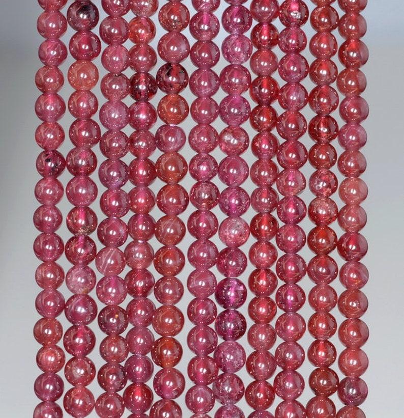 80001129-A165 3-4MM Purple Garnet Gemstone Round Loose Beads 15.5 inch Full Strand