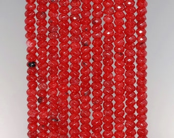 4x3mm Carnelian Red Jade Gemstone Faceted Rondelle Loose Beads 15 inch Full Strand (90182848-782)