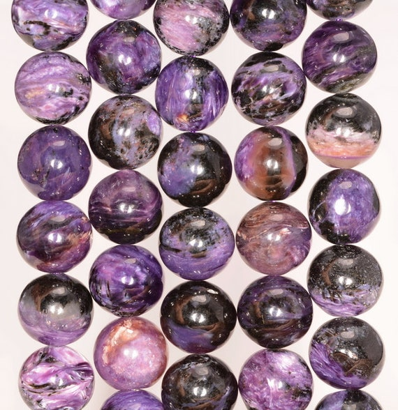 10MM CHARA RIVER CHAROITE GEMSTONE A  PURPLE ROUND 10MM LOOSE BEADS 15.5/""