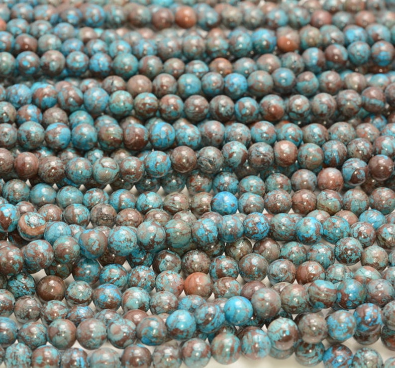 6MM TURQUOISE CALSILICA GEMSTONE SMOOTH ROUND 6MM LOOSE BEADS 15.5/""