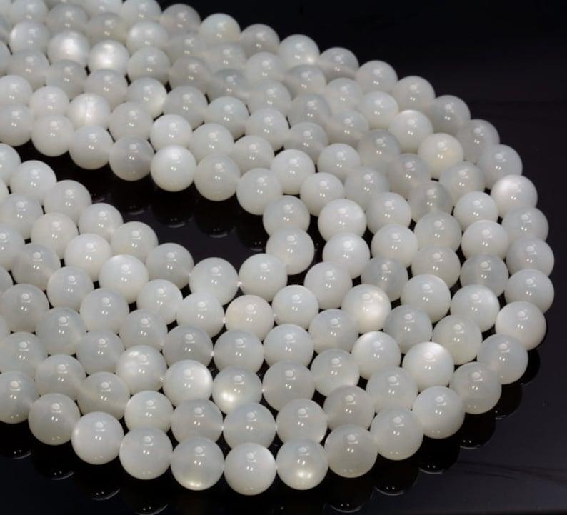 White Moonstone Gemstone Grade Aa Round 4mm 6mm 8mm Loose Beads Full Strand A253