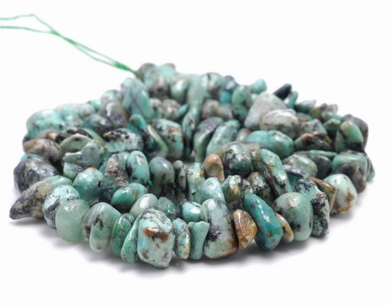 """8-9MM AFRICAN TURQUOISE GEMSTONE PEBBLE NUGGET CHIP LOOSE BEADS 15.5/"""""""