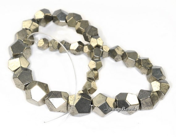 """PALAZZO IRON PYRITE GEMSTONE GRADATED FACETED HEXAGON CUBE 17MM LOOSE BEADS 16/"""""""