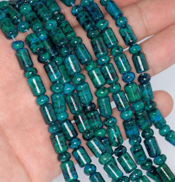 90188489-674 19X15mm Green Blue Chrysocolla Quantum Quattro Gemstone Drum Barrel Loose Beads 7.5 inch Half Strand