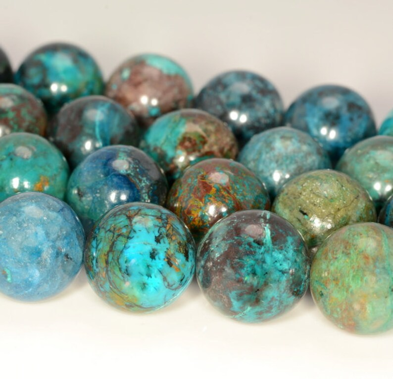 18mm Genuine Shattuckite Chrysocolla Cuprite Green Blue Gemstone Grade AAA Round Loose Beads 2 Beads 80005771-880