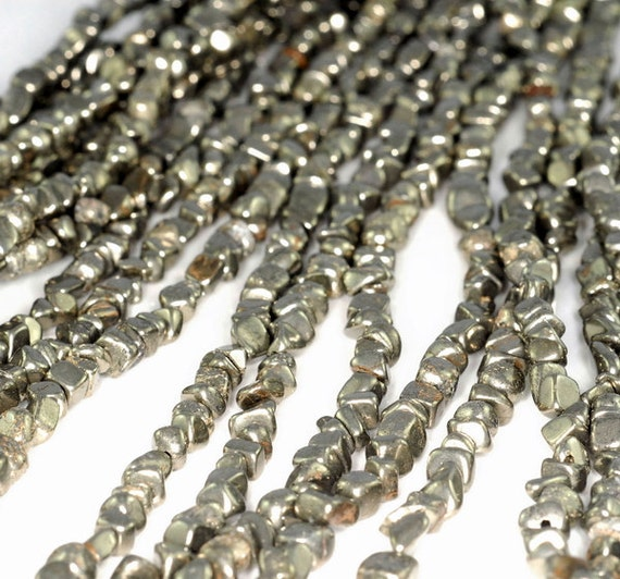 """4MM-5MM IRON PYRITE GEMSTONE BLACK FACETED GRANULES NUGGET CUBE LOOSE BEADS 16/"""""""