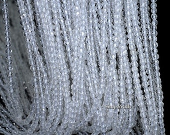 3mm Rock Crystal Clear Quartz Gemstone AAA Faceted Round Loose Beads 15.5 inch Full Strand (90181590-107-3g)