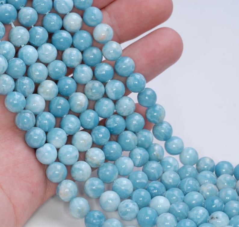 80004698-921 x10 10 Strands 10mm Larimar Quartz Gemstone Grade AAA Sky Blue Round Loose Beads 15.5 inch Full Strand BULK LOT