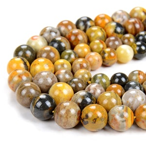 Bumble Bee Jasper Gemstone 10mm Smooth Round Beads Natural Rare Bumble Bee Semi Precious Gemstone Loose Round Beads for Jewelry Making