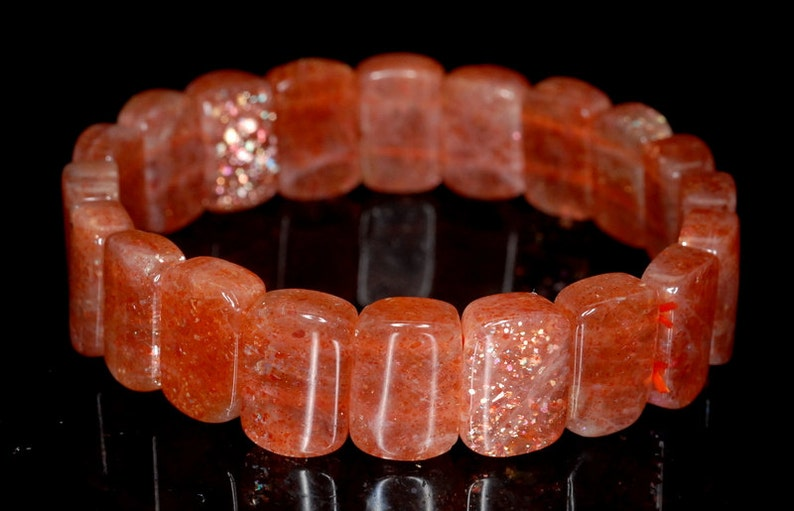 11x7mm Orange Sunstone Gemstone Grade AAA Rectangle Cushion Loose Beads 7 inch 90142589-831