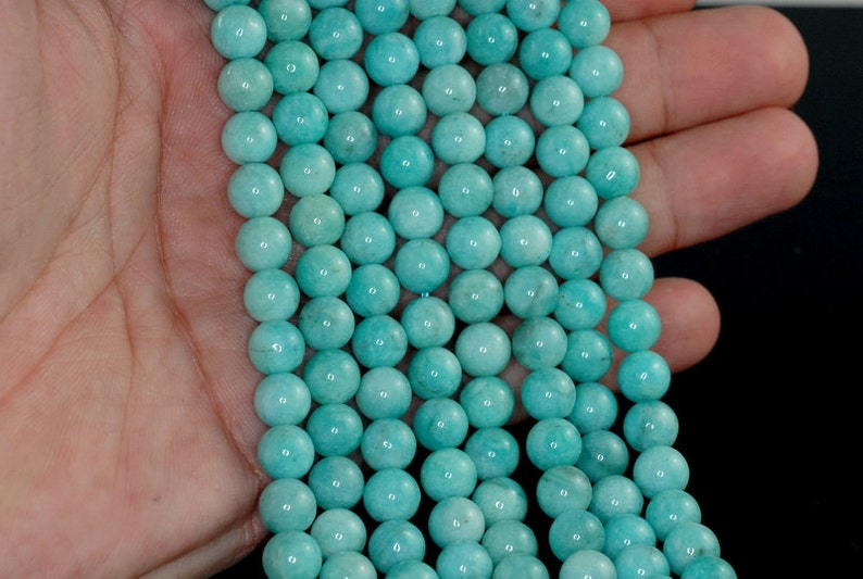 7-8mm Aqua Berry Amazonite Gemstone Grade AAA Green Round Loose Beads 15.5 inch Full Strand 90183683-374