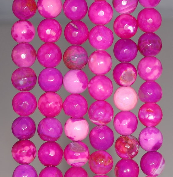"""6MM  AGATE GEMSTONE SUGAR PINK FACETED ROUND LOOSE BEADS 14.5/"""""""
