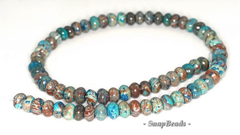 90106896-125A Turquoise Blue Brown Rondelle Calsilica Gemstones Pebble Rondelle Donut 8X5MM Loose Beads 7.5 inch Half Strand