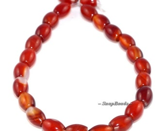 Carnelian Red Agate Gemstone, Red, Oval Drum Barrel 8X6MM Loose Beads 7.5 inch Half Strand (90164776-24)