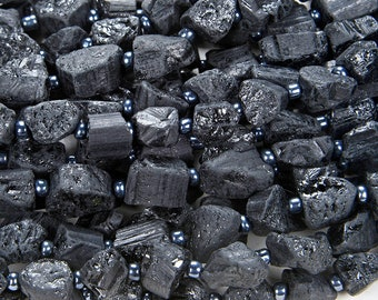 Natural Rough Black Tourmaline Gemstone Grade AAA Rough NuggetDouble Point 8-10MM Beads (D62)