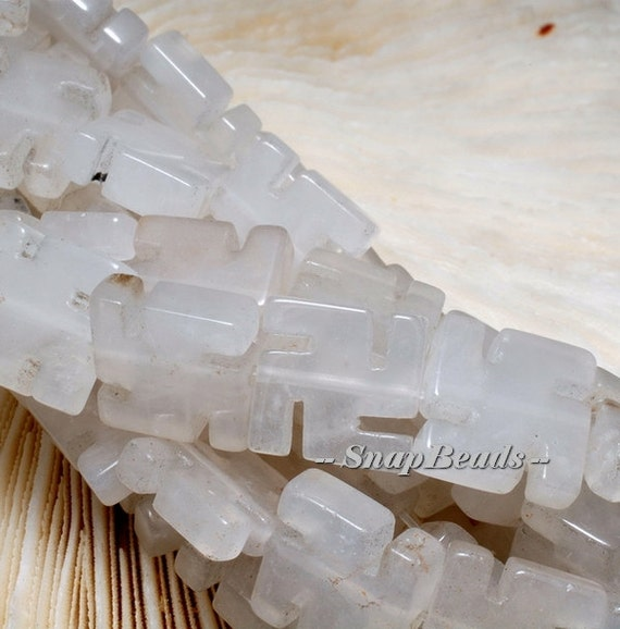ZEN RETREAT CLEAR QUARTZ ROCK CRYSTAL GEMSTONE CARVED 8X8MM LOOSE BEADS 15.5/""