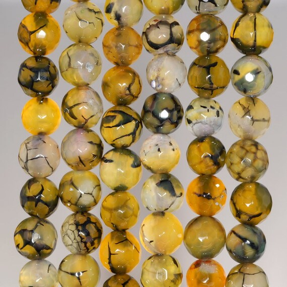 """8MM YELLOW BROWN DRAGON VEIN AGATE GEMSTONE FACETED ROUND LOOSE BEADS 14.5/"""""""