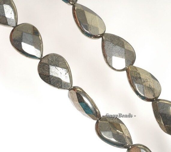 """PALAZZO IRON PYRITE GEMSTONE FACETED TEARDROP 18X13MM LOOSE BEADS 7.5/"""""""