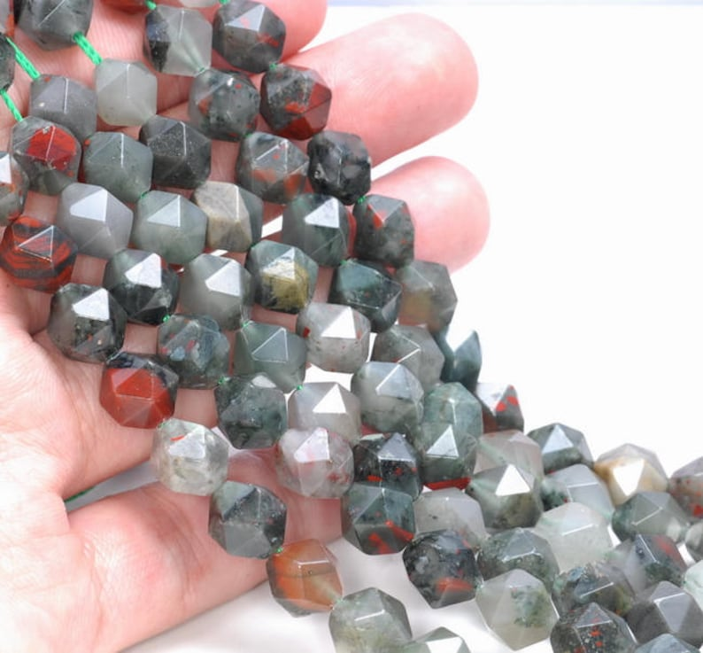 8MM African Blood Stone Beads Star Cut Faceted Grade AAA Genuine Natural Gemstone Loose Beads 7.5 BULK LOT 1,3,5,10 and 50 80005153 H-M16