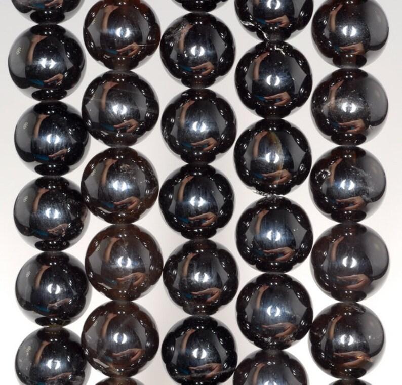 10MM Rare Morion Quartz Gemstone Grade AAA Round Loose Beads 7.5 inch Half Strand 80003786 H-B95