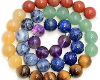 Genuine Natural 7 Chakra Gemstone Grade AAA 4mm 6mm 8mm 10mm 12mm Round Loose Beads Full Strand (A242)
