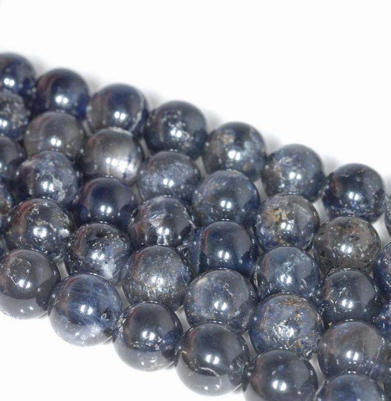 80001171-A159 12MM Dark Blue Iolite Gemstone Grade A Round Loose Beads 7.5 inch Half Strand