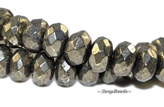 """6X4MM PALAZZO IRON PYRITE GEMSTONE FACETED RONDELLE 6X4MM LOOSE BEADS 7/"""""""