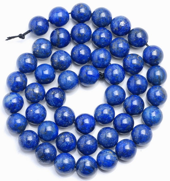 10MM AZURA LAPIS LAZULI GEMSTONE A BLUE ROUND 10MM LOOSE BEADS 7.5/""