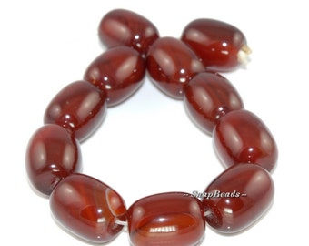 18MM Carnelian Red Agate Gemstone, Red, Drum Barrel 18X14MM Loose Beads 8 inch Half Strand (90164715-16)