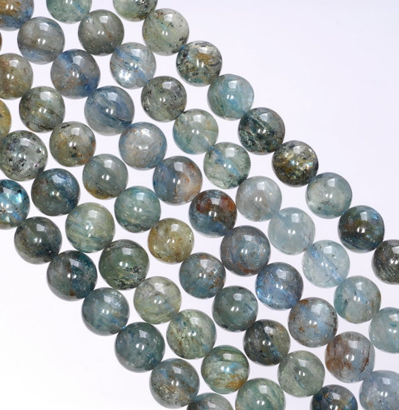 5-6MM Inclusion Kyanite Gemstone Round Loose Beads 15.5 inch Full Strand 80003999-A174