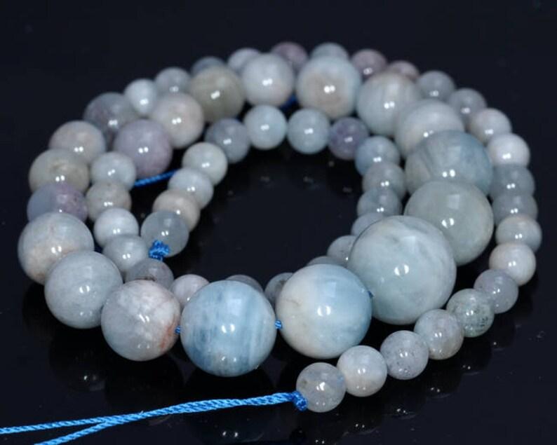 6-14mm Aquamarine Gemstone Light Blue Graduated Round Loose Beads 18 inch Full Strand 80004525-918