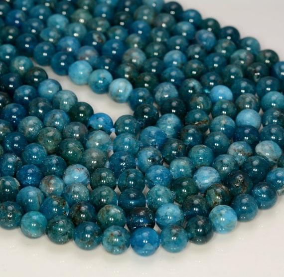"6MM Genuine Natural Dark Blue Apatite Grade AA Round Gemstone Loose Beads 15/"""