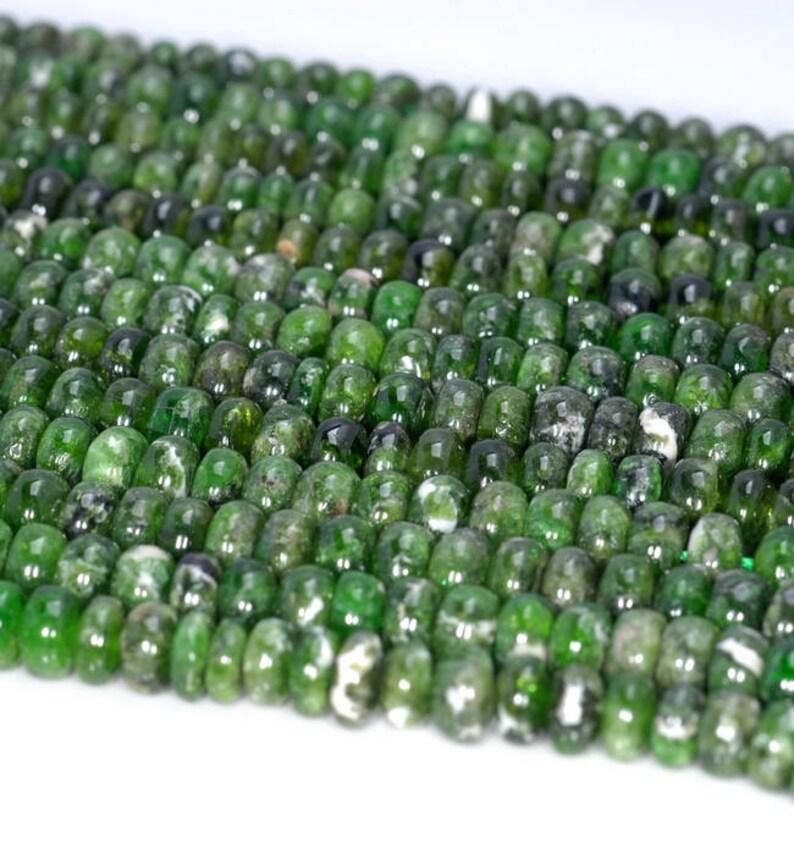 80004180-912 6x3mm Chrome Diopside Gemstone Grade A Deep Green Rondelle Loose Beads 7.5 inch Half Strand