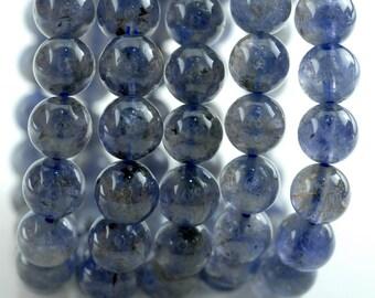 9-10mm Bermudan Blue Iolite Gemstone Grade AA Round Loose Beads 7 inch Half Strand (90142966-832)