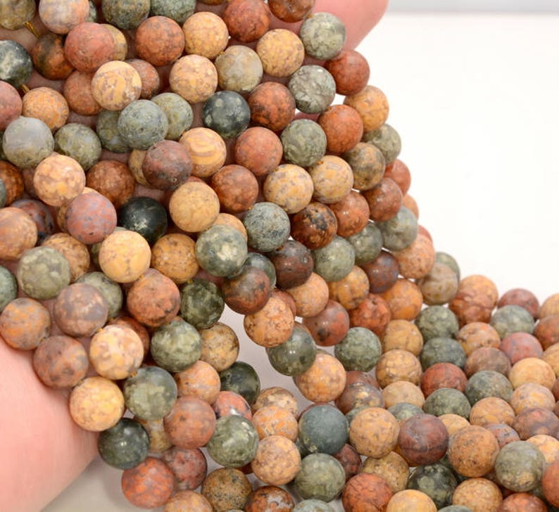 6mm Matte Ocean Agate Gemstone Inclusion Rainbow Grade AAA Round Loose Beads 15 inch Full Strand 80005363-462
