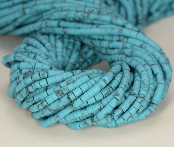 2MM  TURQUOISE GEMSTONE RED ROUND TUBE HEISHI 2MM LOOSE BEADS 12.5/""
