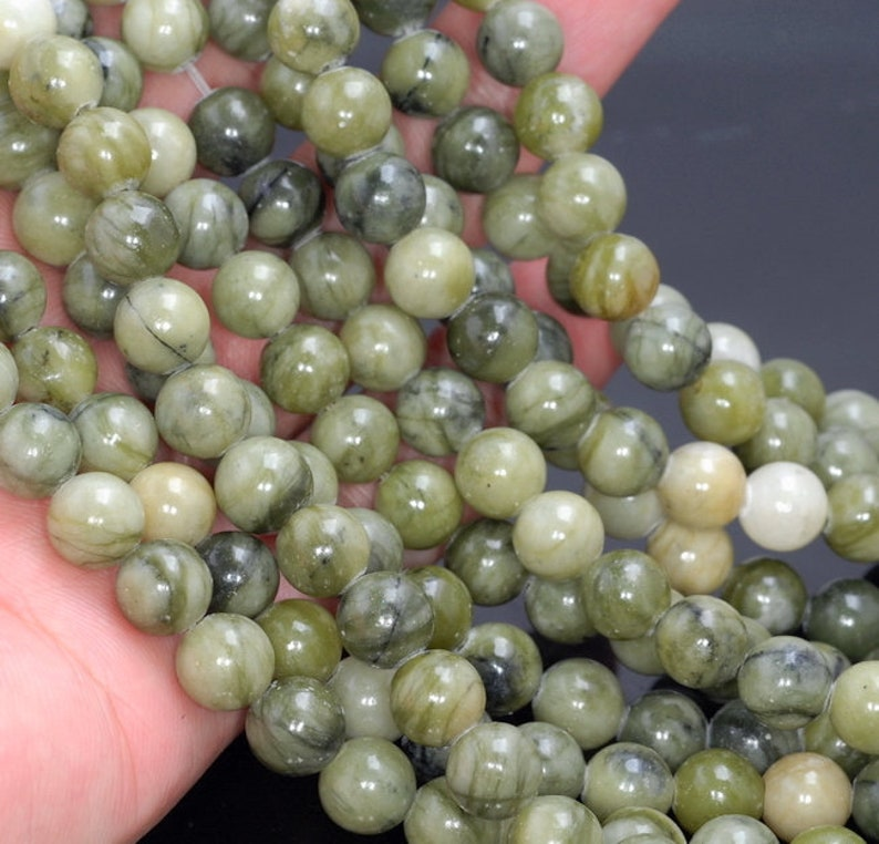 10 Strands 8mm Taiwan Olive Green Jade Gemstone Jade Round Loose Beads 15.5 inch Full Strand 80005978-M38 x10