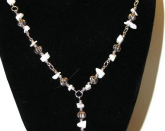 White Gemstone Butterfly Necklace (N056)