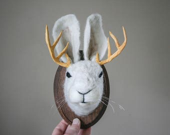 Faux Taxidermy Jackalope Wall Mount