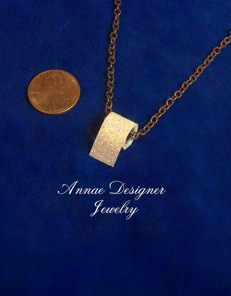 sparkly iridescent white antique copper Toilet paper charm necklace